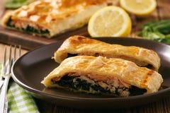 Salmerino e spinaci al forno in pasta sfoglia immagine stock libera da diritti