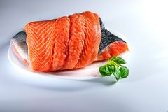 Salmom - fish delicacy. Salmon is a fish that is served with pleasure. Fish that is eaten in any form: fried, steamed, grilled, pickled ...n Royalty Free Stock Photography