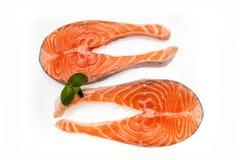 2 salmon котлеты рыб изолированной на белизне Стоковое Изображение