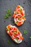 salmon курят сандвичи, котор Стоковое Изображение RF