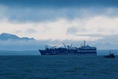 Salmon обработчик поставленный на якорь в заливе Бристоля с Ekuk стоковое фото