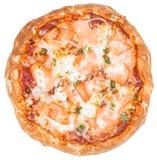 Salmon пицца (изолированная на белизне) Стоковая Фотография