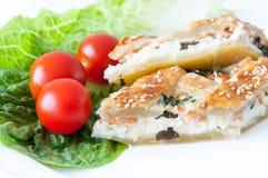 Salmon плита обедающего пирога Стоковая Фотография RF