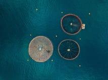 Salmon рыбоводческое хозяйство с плавая клетками вид с воздуха Стоковое фото RF