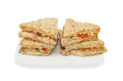 Salmon сандвичи на плите Стоковое Изображение