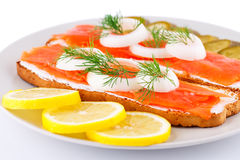 Salmon сандвичи Стоковые Изображения