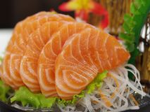 Salmon сасими с цветком Стоковое Фото
