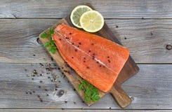Salmon филе закалённое и готовое для варить Стоковая Фотография RF