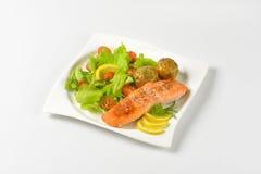 Salmon филе с картошками и овощами Стоковые Фото