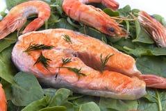 salmon шпинат Стоковая Фотография