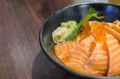 Salmon яичка риса и семг сасими Стоковое Фото
