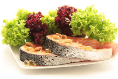 Salmon. On green and red salad Royalty Free Stock Photos