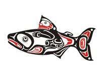 Salmon. Mythological image art style salmon Stock Photos