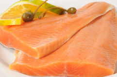 Salmon. Raw salmon fish with caper and orange Stock Photography