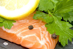 Salmon. Fillet on a slate plate decorated with parsley, pepper, salt and  a lemon slice Stock Image