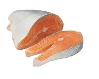 Salmon. Raw salmon fillet isolated on white Stock Photos