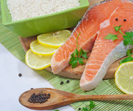 Salmon. On white background stock photography