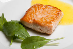 Salmon. Grilled with arugula and parsnip cream Stock Photos