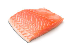 Salmon. Fresh salmon steak over white background Stock Photos