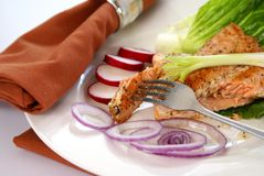 Salmon. Cooked pink salmon with lettuce leaf, onions, and radish Royalty Free Stock Photo