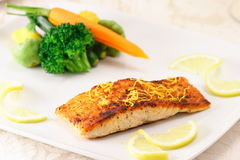 Salmon. Fine salmon plate with steamed vegetables garnished with lemon slices Royalty Free Stock Image