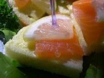 Salmon. Sandwich with salmon Stock Photos