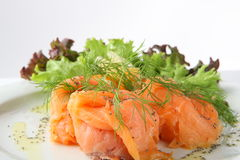 Salmon. A delicious smoked salmon with dill and lettuce royalty free stock images