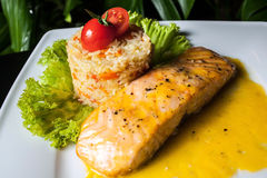 Free Salmon And Pilaf With The Tomato Stock Photo - 54203490