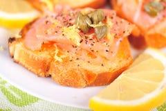Salmon appetizer Stock Photos