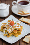 Salmon appetizer pancakes Stock Photography