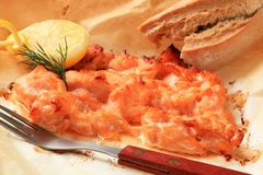 Salmon appetizer. Salmon in parchment with lemon and bread roll Stock Images