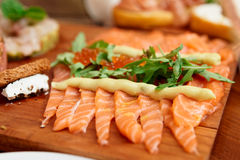 Salmon appetizer on plate, close-up Stock Photos