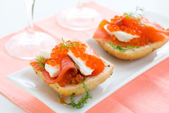 Salmon appetizer with red caviar Royalty Free Stock Photography