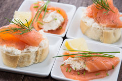 Salmon appetizers Stock Photos