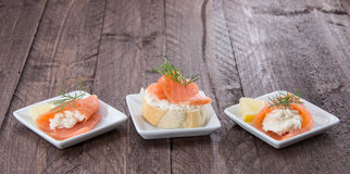 Salmon appetizers Stock Images