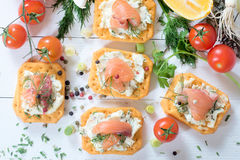 Salmon appetizers Stock Photography
