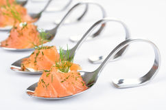 Salmon appetizers on spoons Stock Images