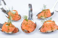 Salmon appetizers on spoons Royalty Free Stock Image