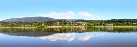 Salmon Arm. Blue sky Panorama of Salmon Arm in British Columbia, Canada Royalty Free Stock Photography