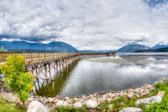 Salmon Arm Wharf on a cloudy morning. Royalty Free Stock Image