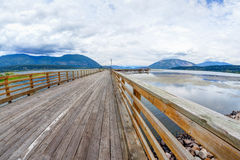 Salmon Arm Wharf on a cloudy morning. Stock Photo