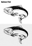 Salmon art highly detailed in line art style.Fish vector by hand drawing. Fish tattoo on white background.Black and white fish vector on white background.Salmon Royalty Free Stock Images