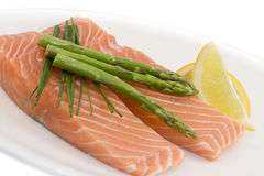 Salmon and asparagus Royalty Free Stock Image