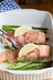 Salmon with asparagus Stock Photos