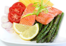 Salmon Asparagus Stock Photo