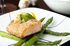Salmon with Asparagus Royalty Free Stock Images