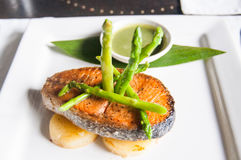 Salmon with asparagus Stock Images