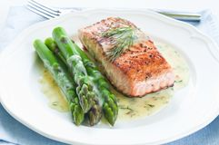 Salmon with Asparagus Stock Photography
