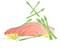 Salmon and asparagus Royalty Free Stock Photography