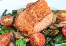 Salmon asparagus tomato mushroom salad Stock Images